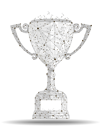 Winner cup , logo isolated from low poly wireframe on white background. abstract polygonal image mash line and point. Digital graphics