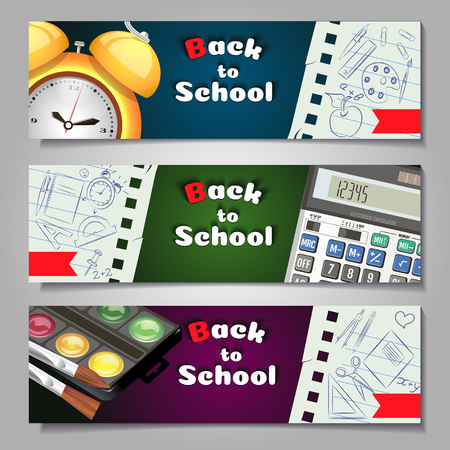 A set of three horizontal banners with school supplies and elements.Templates with supplies tools.  shopping banner.