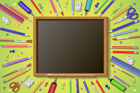 Welcome back to school in blackboard with school items and elements.3D Realistic Title Poster Design.Editable Vector illustration banner. Ilustração