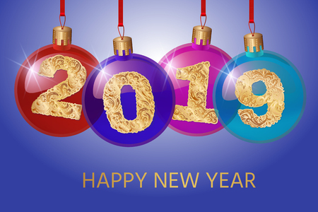 Happy New Year 2019. Vector greeting illustration with golden numbers.background decoration.3D Realistic greeting card design template. Ilustração