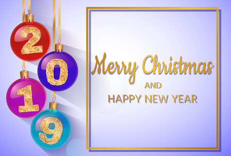 Happy New Year 2019. Vector greeting illustration with golden numbers. The text is in a gold frame. Background decoration.3D Realistic greeting card design template.