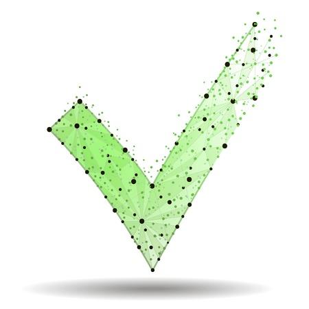 Green check mark icon. Tick symbol in green color