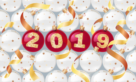 Happy New Year 2019. Vector greeting illustration with golden numbers.background decoration.3D Realistic greeting card design template. Ilustracja