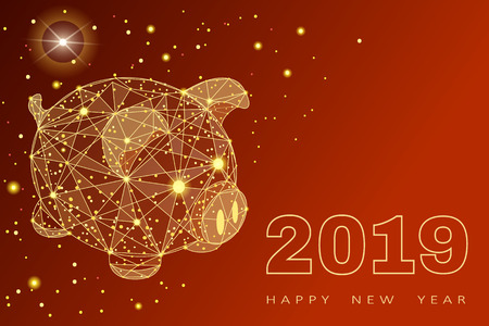 Cute funny pig. Happy New Year. Chinese symbol of the 2019 year. Excellent festive gift card.  illustration on red background.