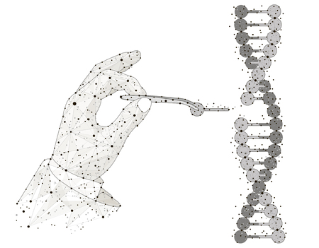 Abstract design Manual genetic engineering. Manipulation of DNA double helix with with bare hands, tweezer Zdjęcie Seryjne