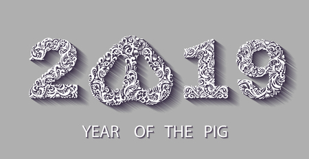 Happy chinese new year 2019 card with silver pattern pig zodiac. silver paper cut art and craft style. consists of a floral pattern. .