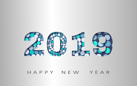 happy new year, abstract design 3d, 2019 vector illustration,Layered realistic, for banners, posters flyers
