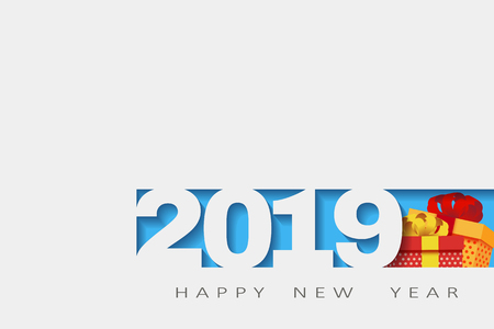 2019 Happy new year. Numbers Design of greeting card of. Happy New Year Banner with 2018 Numbers.gifts 3d. Vector illustration.