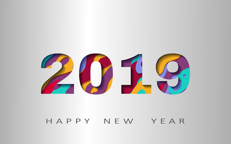 2019 happy new year, abstract design 3d, vector illustration,Layered realistic, for banners, posters flyers
