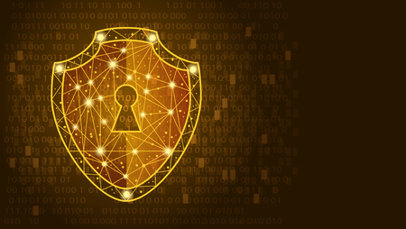 Safety concept: Shield on digital data background. illustration