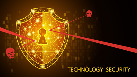 Safety concept: Shield on digital data background. Illustrates cyber data security or information privacy idea. Blue abstract hi speed internet technology.Protection concept. illustration
