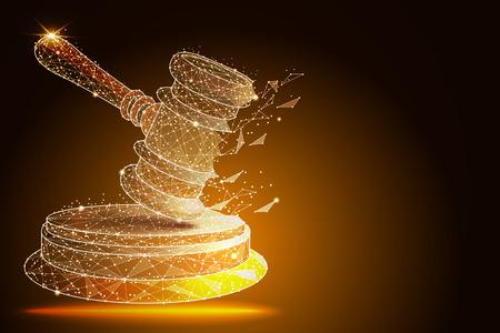 Court, judgment, bid, auction concepts. Judge gavel, auction hammer. vector illustration Stock Photo