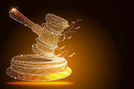 Court, judgment, bid, auction concepts. Judge gavel, auction hammer. vector illustration