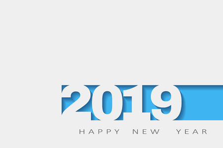 2019 happy new year, abstract design 3d,  white paper.  illustration
