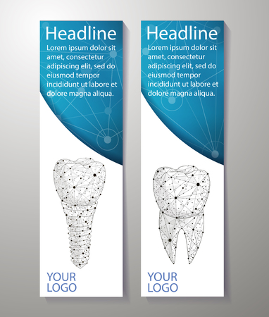 Healthy teeth and dental implant. banners design. Can use for marketing. Dentistry. Implantation of human teeth. Polygonal wireframe from dots and lines, abstract design. Digital graphics vector illustration. Standard-Bild - 127672694