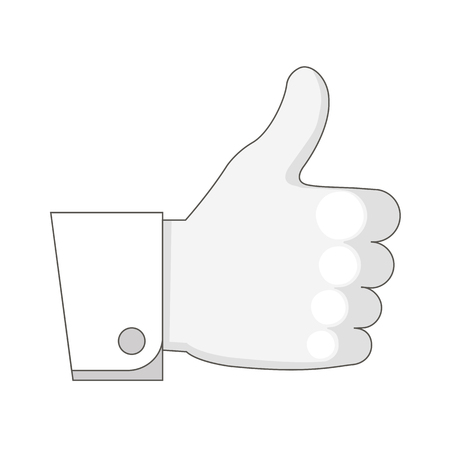 hand with thumb up. icon. isolated on white background. vector illustration.