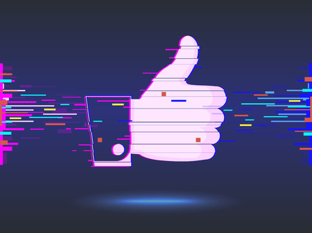 hand with thumb up. icon. glitch design, abstract background. vector illustration