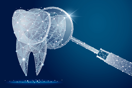healthy tooth. dental clinic. In the form of stars and space.