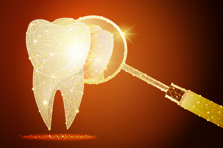 healthy tooth. dental clinic. a golden dust effect . polygonal low poly design. Imagens