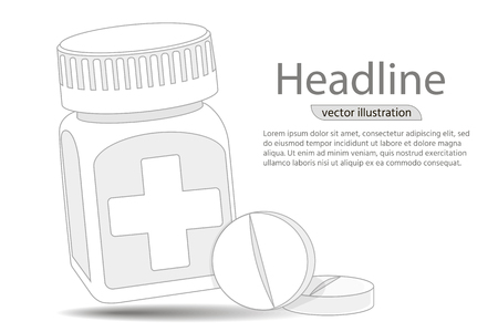 Pill bottle. Medical capsules container. Digital graphics illustration For Poster, Cover, Label, Sticker, Business Card.