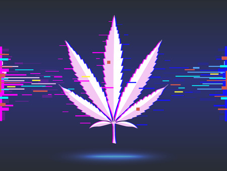 Marijuana, cannabis logo on blue background. glitch design.  illustration