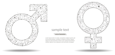 Male and Female icon symbol on white background,vector illustration. in the form of lines and dots on a white background.