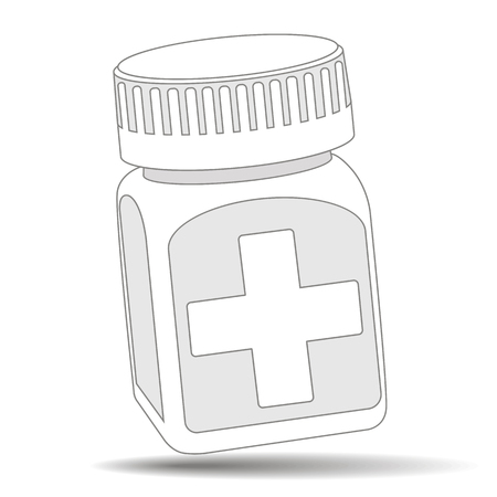 Pill bottle. Medical capsules container. Isometric  illustration Imagens