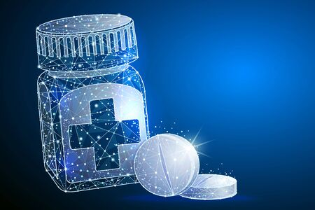 Pill bottle. Medical capsules container.  abstract polygonal image mash line and point. logo isolated from low poly wireframe on space background.
