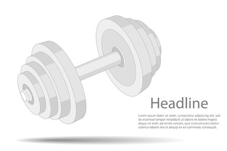 fitness club logo. Metal dumbbell isolated on white background.
