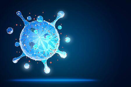 Virus. Abstract vector 3d microbe isolated on blue background. Coronavirus. virion of Coronavirus on blue background. Vector abstract polygonal image mash line and stars.