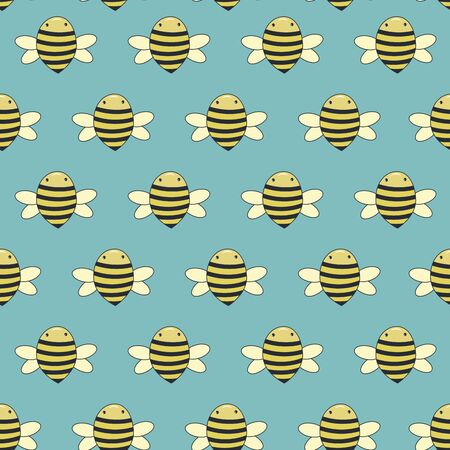 Bees seamless cartoon pattern, on a blue background 向量圖像