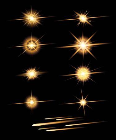 Stars and meteorites set isolated on black background. Vector Illustration. 向量圖像