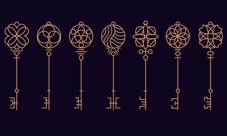 Heraldic keys set with decorative elements in retro style, flat style vector illustration. 向量圖像