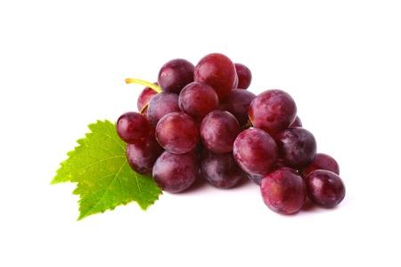 포도 수확: 흰색 배경에 고립 된 리프와 붉은 포도 스톡 콘텐츠
