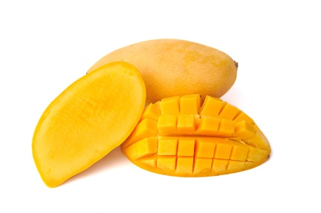 Yellow mango isolated on white background photo