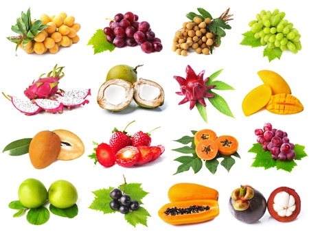 Large page of fruits isolated on white background photo