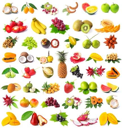 fruta tropical: Gran p�gina de frutos aislados sobre fondo blanco Foto de archivo