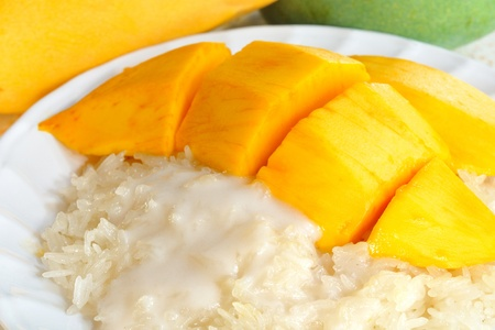 Glutinous rice with mangoes,Thailand photo