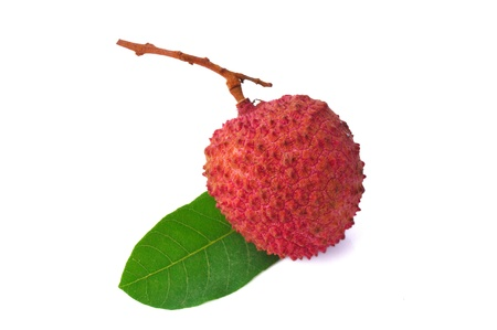 lichee: Fresh lychees with leaves isolated on white background