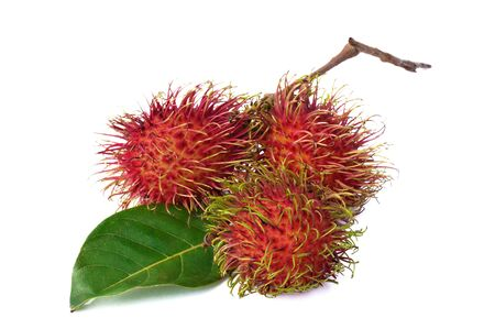 Rambutan with leaves isolated on white background photo