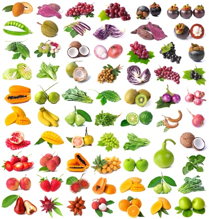 Rainbow collection of fruits and vegetables Stock Photo - 13872547