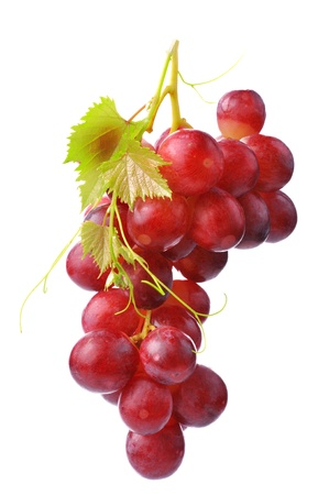 bunch of grapes:  Red grape with leaf isolated on white background