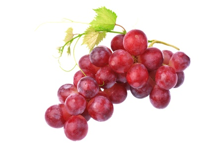 cluster:  Red grape with leaf isolated on white background