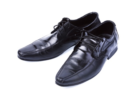 lace up:  A pair of formal black leather lace up men s shoes Stock Photo