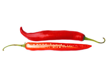Red chili peppers isolated on white background Stock Photo - 14330308