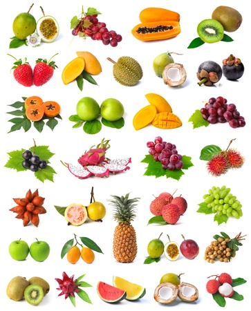 Large page of fruits isolated on white background