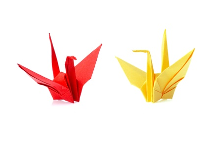 origami bird isolated on white background photo