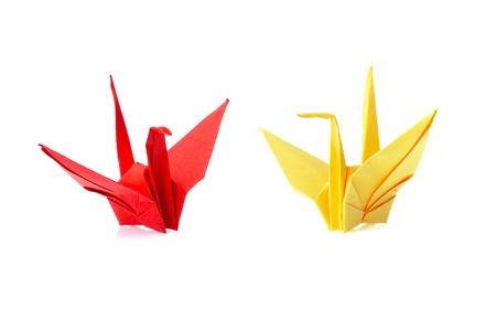 crane fly: origami bird isolated on white background