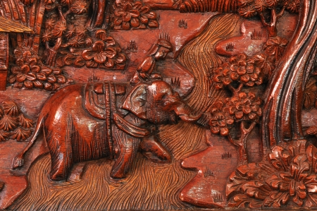 Wood carving in a thai temple