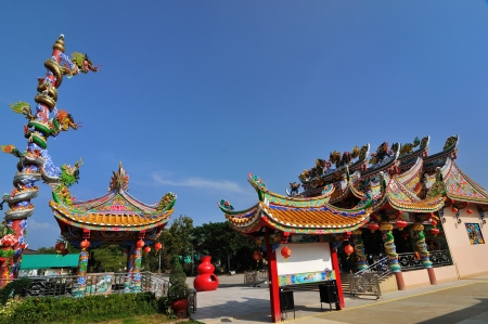 Chinese temple with blue sky photo